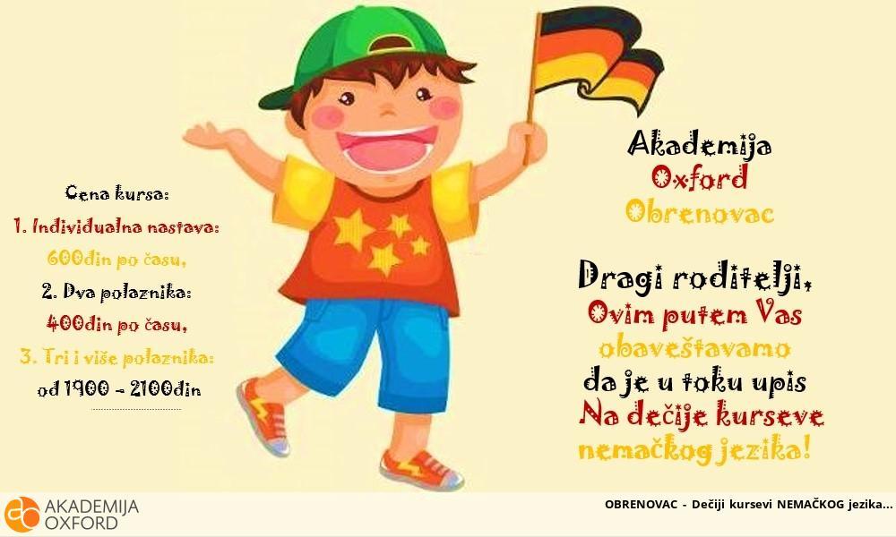 OBRENOVAC - Dečiji kursevi NEMAČKOG jezika