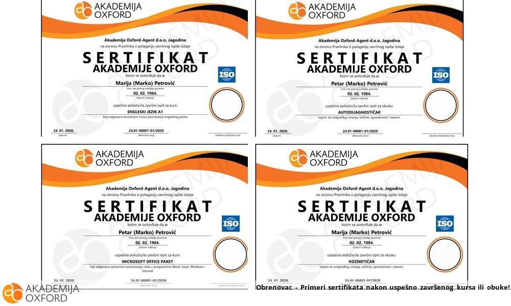 Obrenovac - Primeri sertifikata nakon uspešno završenog kursa ili obuke!